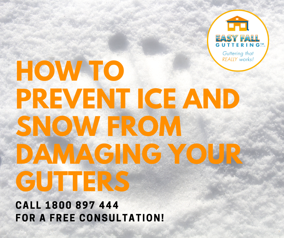 How to precent ice and snow from piling up on your gutters during winter and causing gutter damage